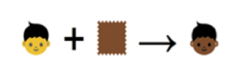 Application of emoji skin-tone modifier to human base character
