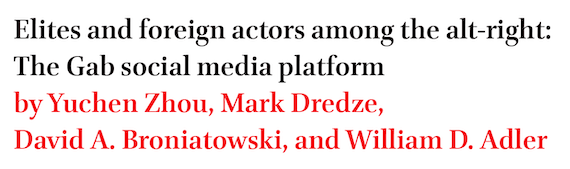 Elites and foreign actors among the alt-right: The Gab social media platform by Yuchen Zhou, Mark Dredze, David A. Broniatowski, and William D. Adler