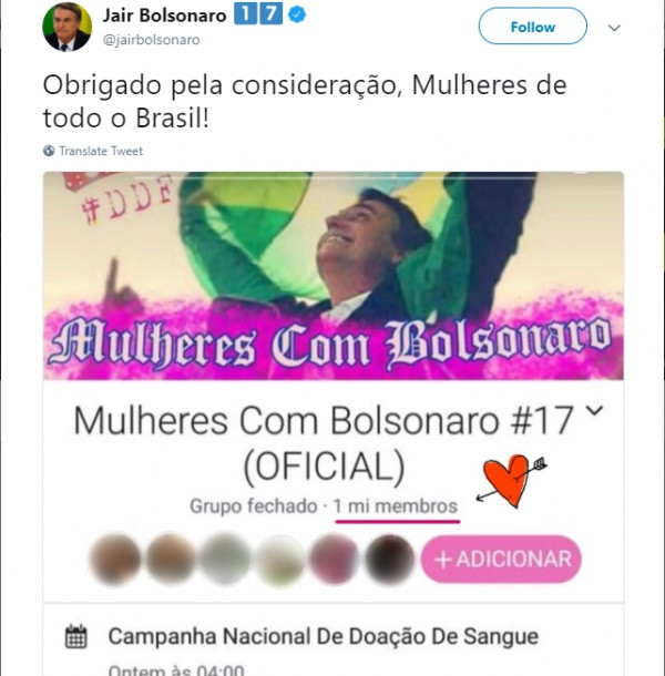 Bolsonaro tweeting the MUCB's group hacking