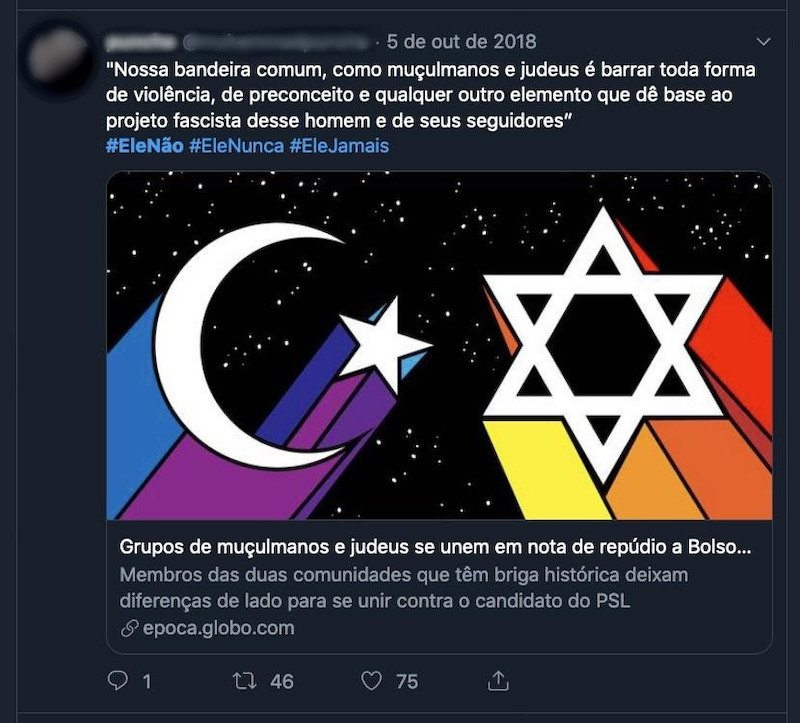 Jews and Muslims using #EleNao symbol