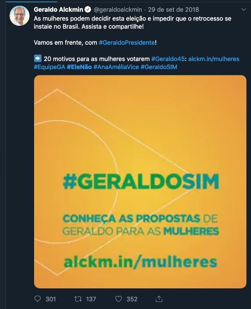 Central right candidate Geraldo Alckmin uses #EleNao