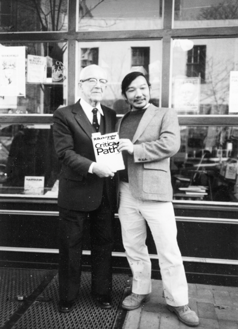 Photograph of Buckminster Fuller and Kiyoshi Kuromiya holding Critical path