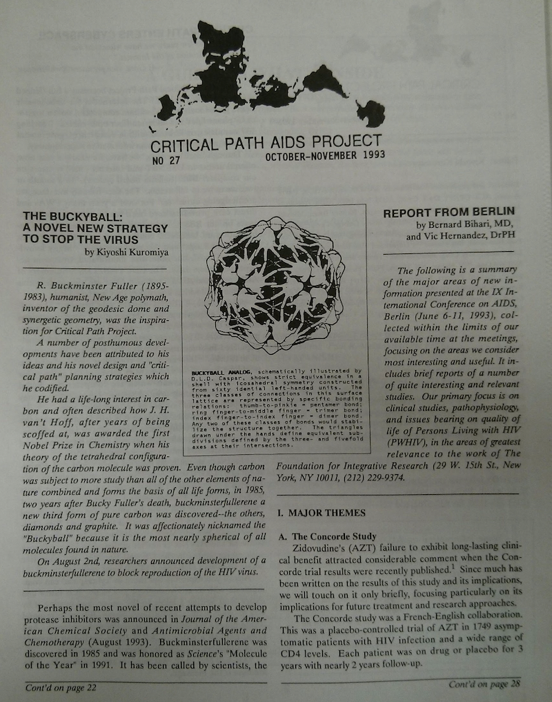 Critical Path AIDS Project Newsletter cover story about the buckminsterfullerene molecule