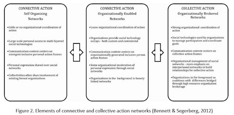 Elements of collective and connective action networks