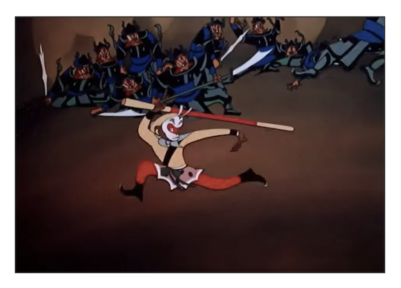 Screenshot from Havoc in heaven where the Monkey King powerfully fights against the heavenly army
