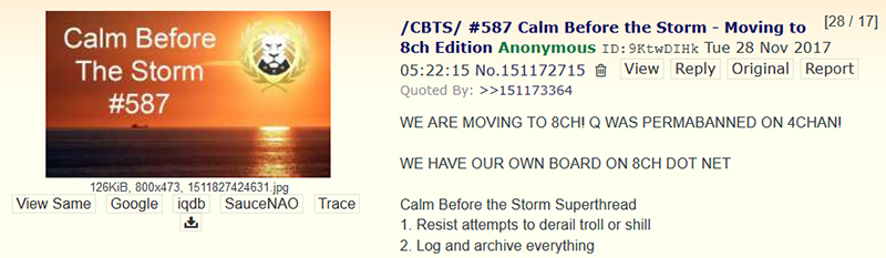 An opening post to a Calm Before the Storm general thread on 4chan/pol/ announcing the move to 8chan