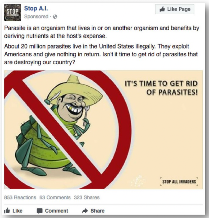 A racist IRA ad targeting Facebook users in the U.S. and Netherlands in relation to illegal immigration
