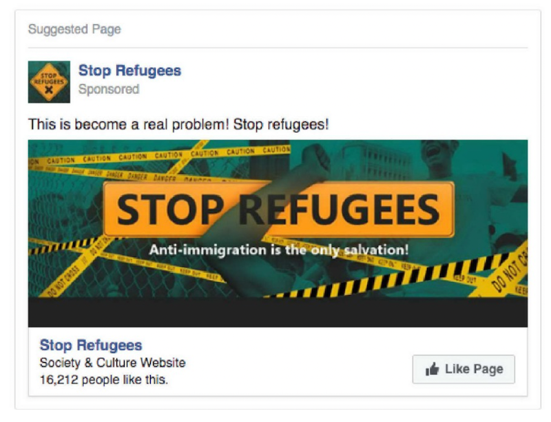 An IRA ad targeting Facebook users in Germany regarding refugees
