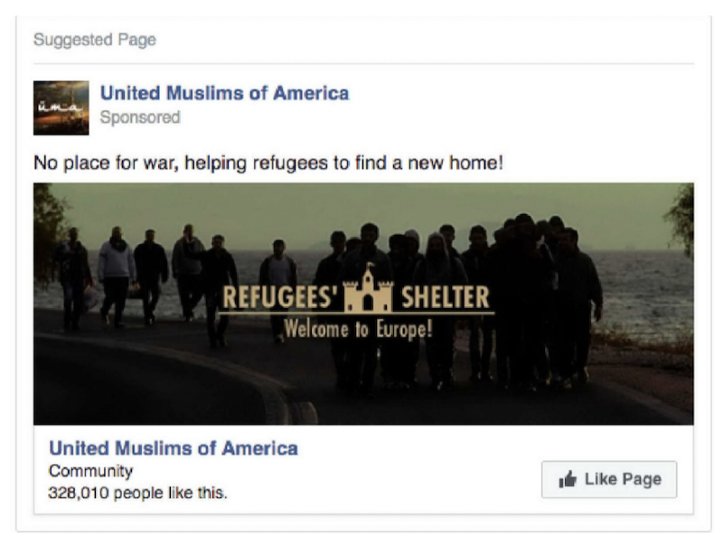 An IRA ad targeting Facebook users in Canada regarding refugees