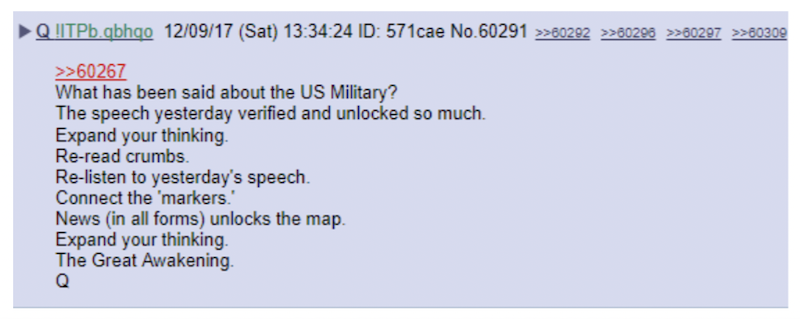 Q's posts often encourage anons to work harder to interpret the breadcrumbs