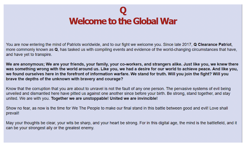 QAnon's 'Welcome to Q Research' page is a manifesto for the global information war