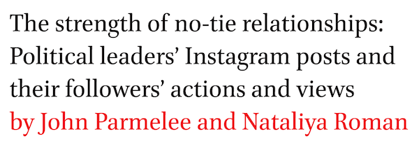 The strength of no-tie relationships: Political leaders' Instagram posts and their followers' actions and views by John Parmelee and Nataliya Roman
