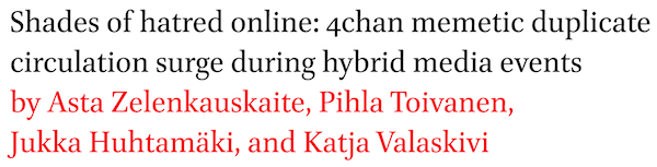 Shades of hatred online: 4chan memetic duplicate circulation surge during hybrid media events by Asta Zelenkauskaite, Pihla Toivanen, Jukka Huhtamaki, and Katja Valaskivi