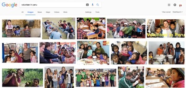 Screen capture of first results page in Google Images search for volunteering in Peru