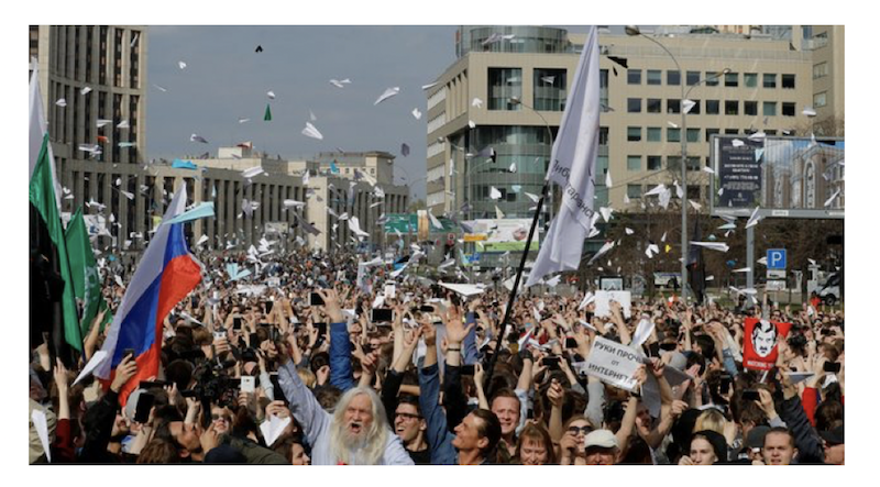 The biggest rally for Telegram, held in Moscow on Sakharov avenue on 30 April 2018, with around 12,500 participants