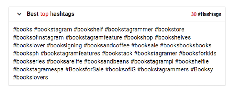 Top 30 hashtags related to books