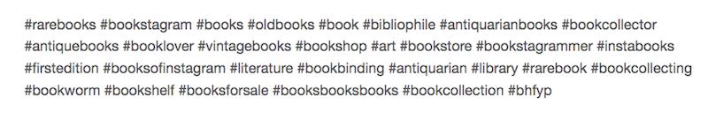 Top 30 hashtags related to rarebooks