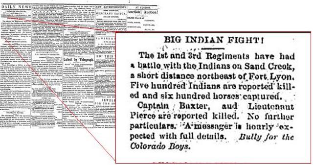 Figure 2: Rocky Mountain News, 7 December 1864, Courtesy of the Colorado Historical Society