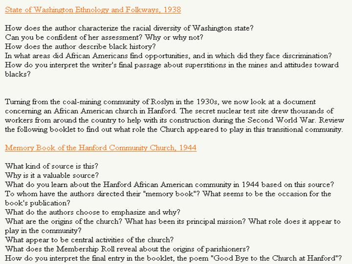 Figure 10: Questions and links to WA ethnology and Hanford Church