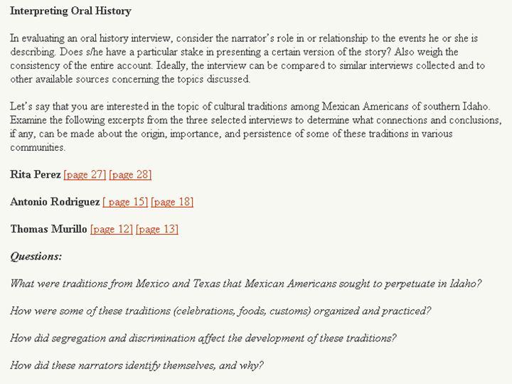 Figure 13: Interpreting oral history