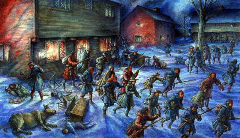 Figure 1: Raid on Deerfield, illustration copyright Francis Back