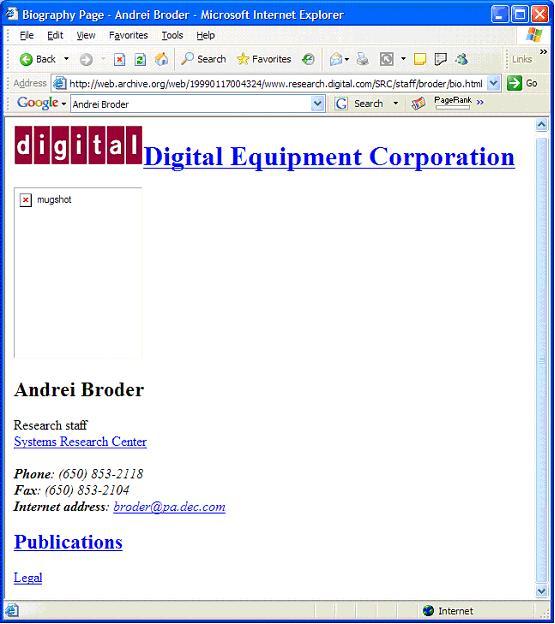 Figure 2: http://www.research.digital.com/SRC/staff/broder/bio.html as of 17 January 1999