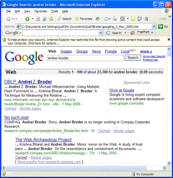 Figure 5: Search results by Google as of 3 May 2005