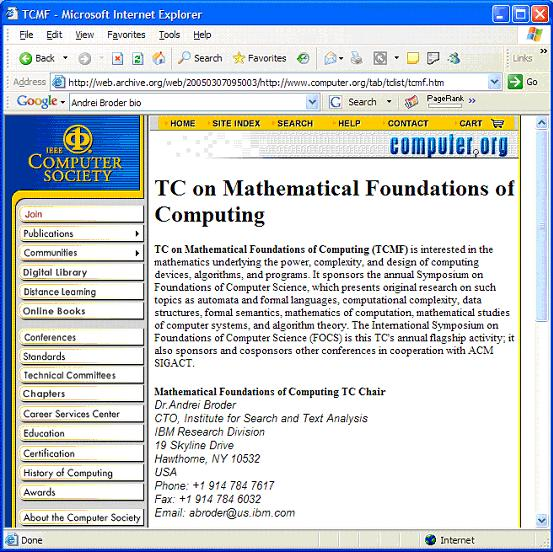 Figure 7: http://www.computer.org/tab/tclist/tcmf.htm (only accessible through the Internet Archive, captured on 7 March 2005)