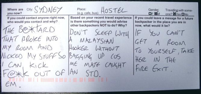 Figure 3: A response from a backpacker that both has a jovial tone and discusses serious issues