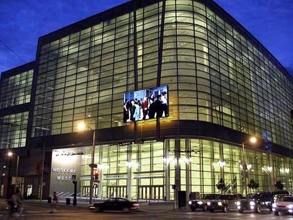 Figure 2: The Moscone Center's 16-foot high by 27-wide LED video screen