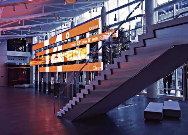Figure 4: The Link display in the main lobby of the Bloomberg building, stretching over 40 feet