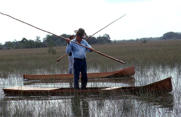 Figure 1: Glen Simmons (foreground) and apprentice Donald Edwards navigating 