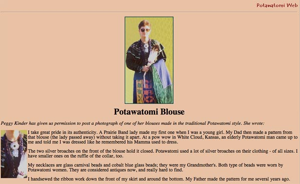 Figure 5: Potawatomi Blouse Web site