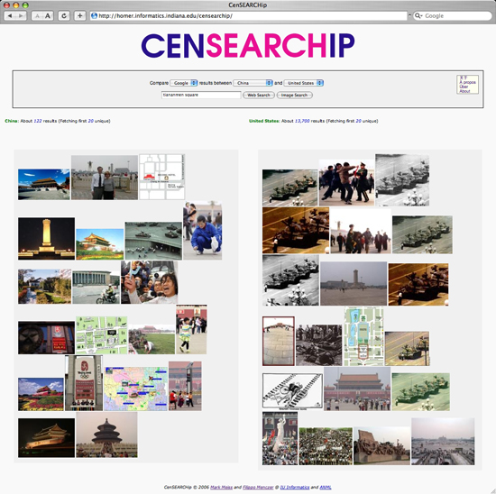 Figure 3: Image search comparing Chinese and American versions of Google