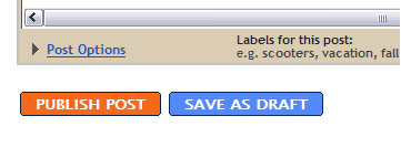 Figure 1: 1 Image of a publish button from the blogspot interface
