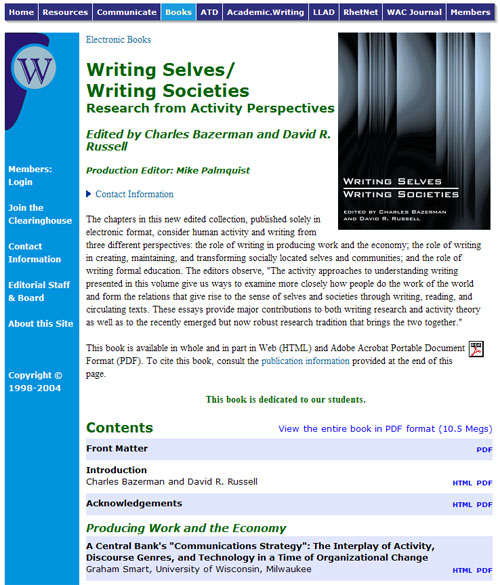 Figure 1: The Writing Selves/Writing Societies Web page