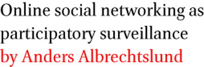 Online social networking as participatory surveillance by Anders Albrechtslund