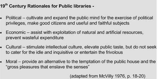 Figure 2: Nineteenth century rationales for public libraries