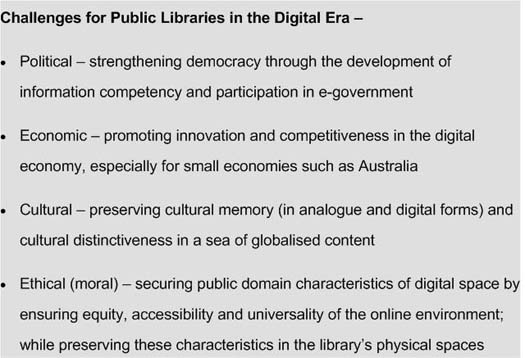 Figure 3: Challenges for public libraries in the digital era