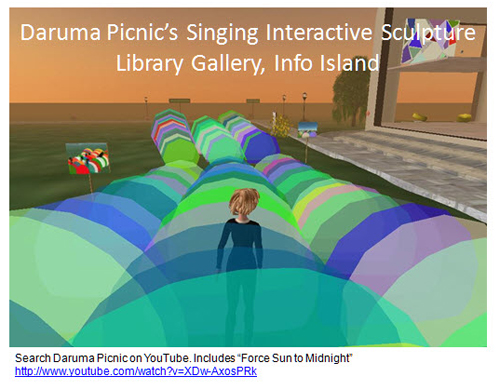 Figure 17: Daruma Picnic's Singing Interactive Sculptures, Library Gallery, Info Island