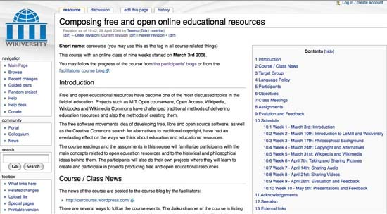 Figure 1: Experimental course on Wikiversity