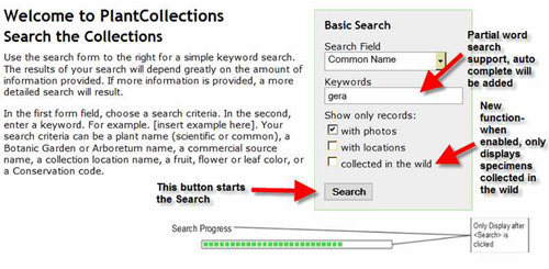 Figure 2: Basic search screen on the PlantCollections Portal with explanations
