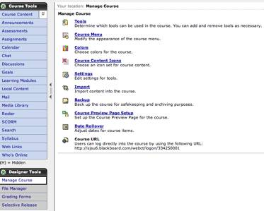 Figure 2: Screen shot of Blackboard CE 6 manage course page