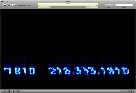 Figure 7: The unreleased song contained wave forms that a common mp3 player revealed to be a spooky hand and a phone number