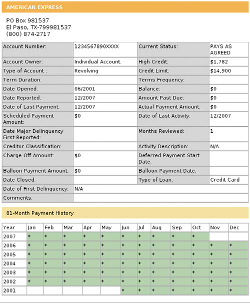 Figure 2: A detailed view of a particular credit line on a consumer credit report, including historical payment information