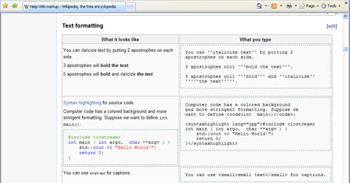 Example of wiki markup