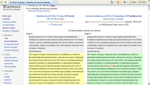 Comparison of revisions to an article