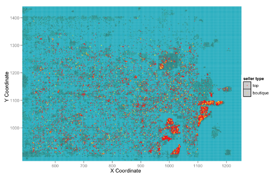 Figure 3: Transaction locations for Top 100 and Boutique Sellers overlaid on a map of Second Life. Blue represents the virtual world's ocean and the grey masses are the land