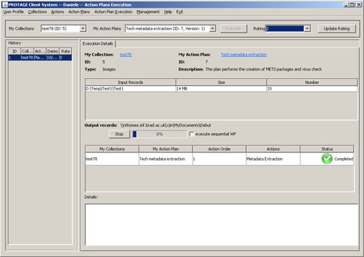 Figure 2: A screenshot of the third PROTAGE prototype, where an action plan is being executed