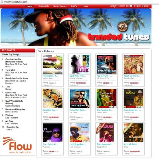 Figure 4: Screenshot of www.trinidadtunes.com